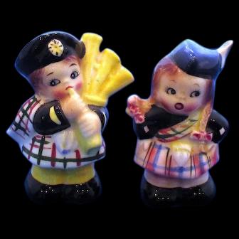 Vintage Salt Pepper Shakers Scottish Bagpipe Boy Girl PY