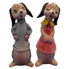 Vintage Tall Anthropomorphic Dalmation Salt and Pepper Shakers