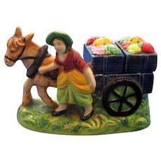 Vintage Vegetable Seller & Horse Drawn Cart Salt and Pepper Set