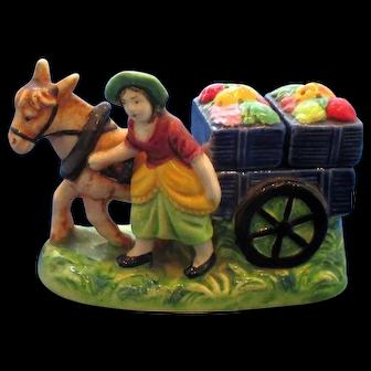 Vintage Vegetable Seller & Horse Drawn Cart Salt and Pepper Set
