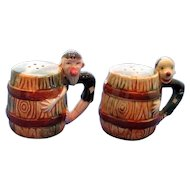 Vintage Clowns on Barrels Salt and Pepper Shakers