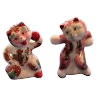 Vintage Boxing Cats Salt and Pepper Shakers
