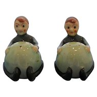 Vintage Elf Holding Green Ball Salt and Pepper Shaker Set