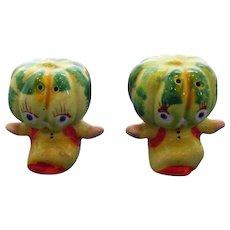 Vintage Anthropomorphic Melon Head Salt and Pepper Shaker Set