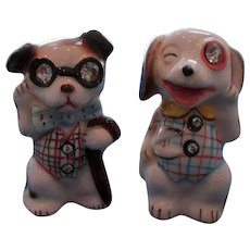 Vintage Dogs With Rhinestone Eyes Salt and Pepper Shakers