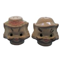 Large White Cat Heads in Hats Salt and Pepper Shakers