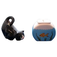 Tuxedo Cat and Fishbowl Salt and Pepper Shakers