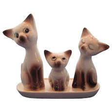 Vintage Cat Family on Tray Salt and Pepper Shaker Set