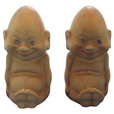 Vintage Nude Baby w/ Rhinestone Eyes Salt and Pepper Shakers