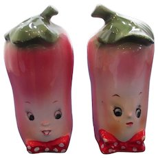 Vintage Large Anthropomorphic Radish Salt and Pepper Shakers