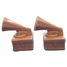 Vintage Pink Victrola Record Player Salt and Pepper Shakers