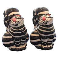 Large Black and White Striped Cat Salt and Pepper Shakers