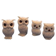 Four Vintage White Owls Salt and Pepper Shakers