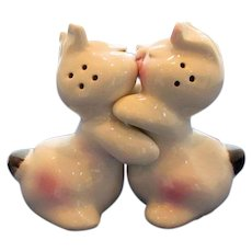 Vintage Van Tellingen Hugging Bunny Salt and Pepper Shakers