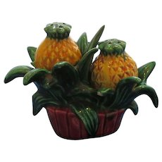 Vintage 3-Piece Pineapple Plant Salt and Pepper Shakers