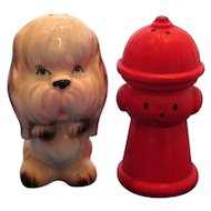 Dog and Fire Hydrant Salt and Pepper Shakers