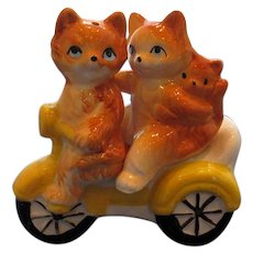 Vintage Cat Family on Bicycle Salt and Pepper Shakers