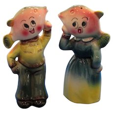 Anthropomorphic Fish Head Couple Salt and Pepper Shakers