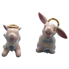 Pink Rabbits With Gold Halo Salt And Pepper Shakers