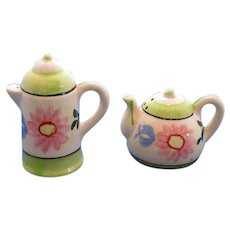 Floral Coffeepot and Teapot Salt and Pepper Shakers