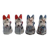 2 Sets Vintage Stitched Dogs Salt and Pepper Shakers
