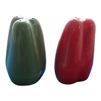 Large Green and Red Pepper Salt and Pepper Shakers