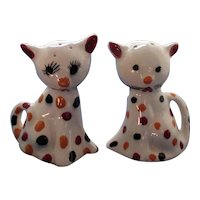 Polka Dot Cats Salt and Pepper Shakers