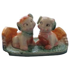 3 Piece Puppy Dogs on Tray Salt and Pepper Shakers