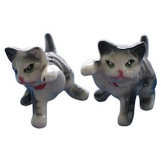 Grey and White Cat with Raised Paw Salt and Pepper Shakers