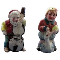 Gnome Playing Viola for Child Sitting on Goose Salt and Pepper Shakers