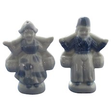 Blue and White Dutch Children Salt and Pepper Shakers
