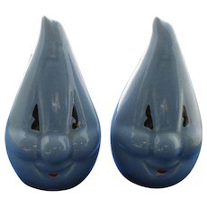 Vintage Anthropomorphic Blue Handy Flame Salt and Pepper Shakers