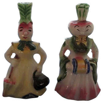 Anthropomorphic Turnip and Beet Head Ladies Salt and Pepper Shakers