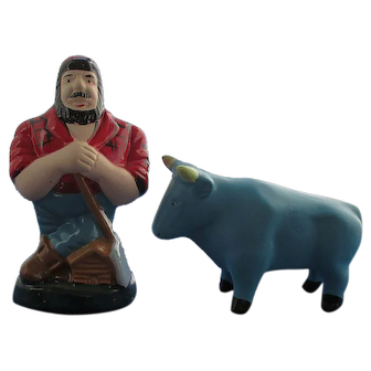 Paul Bunyan and Babe the Blue Ox Salt and Pepper Shakers