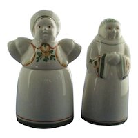 Vintage Woman Salt Cellar and Monk Pepper Shaker