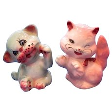 Vintage Winking Kitten and Puppy Salt and Pepper Shaker Set