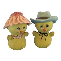 Vintage Chicks in Hats Salt and Pepper Shakers