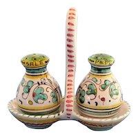 Gorgeous Vintage Deruta Italy Salt and Pepper Shaker Set On Tray
