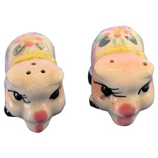 Vintage Sweet Face Pig Salt and Pepper Shaker Set