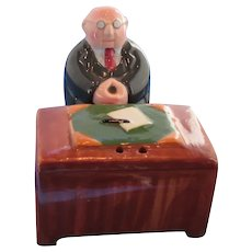 Clay Art Man Sitting At His Desk Salt and Pepper Shakers