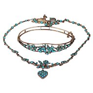 Victorian Turquoise Pearl Bird Heart Necklace Bangle Set, Saint Espirit