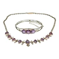 Victorian Amethyst Silver Gilt Necklace Bangle Bracelet Set