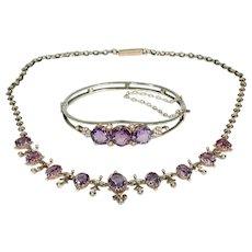 Victorian Amethyst Silver Gilt Necklace Bangle Bracelet Set