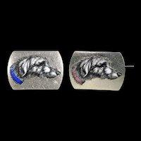 Antique French Wolf Hound Enamel Wedding Set Brooch and Stud Silver