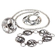 Vintage Sten & Karl Laine Spider Web Bracelet Necklace Ring Set Silver