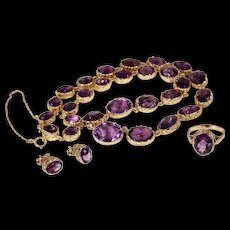 Antique Victorian Amethyst Necklace Ring Earrings Set