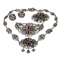 Edwardian Zoltan White Necklace, Bracelet, Earrings and Brooch Set Silver Multi Gems