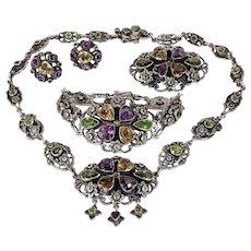 Edwardian Zoltan White Necklace, Bracelet, Earrings and Brooch Set Silver Multi Gems