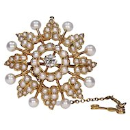 Victorian Pearl Diamond Brooch Pendant Wedding Jewelry 15k Gold