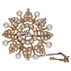 Victorian Pearl Diamond Brooch Pendant Wedding Jewelry 15k Gold